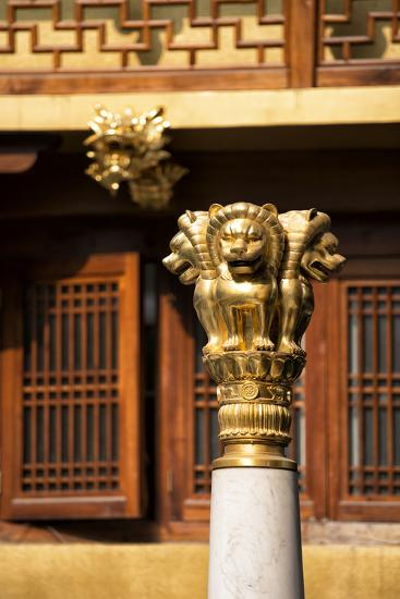 China 10MKm2 Collection - Golden Chinese Lion Statue Jing An Temple - Shanghai-Philippe Hugonnard-Photographic Print