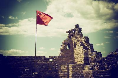 China 10MKm2 Collection - Great Wall with the Chinise Flag-Philippe Hugonnard-Photographic Print