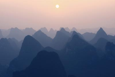 China 10MKm2 Collection - Karst Mountains at Pastel Sunset - Yangshuo-Philippe Hugonnard-Photographic Print