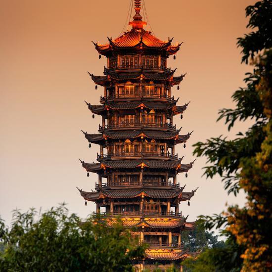 China 10MKm2 Collection - Pagoda at dusk-Philippe Hugonnard-Photographic Print