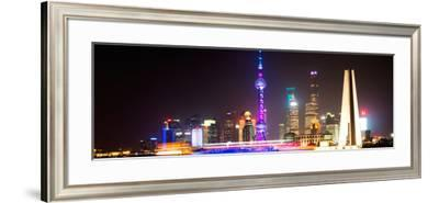 China 10MKm2 Collection - Shanghai Skyline with Oriental Pearl Tower at night-Philippe Hugonnard-Framed Photographic Print