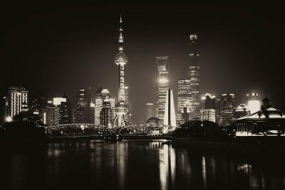 China 10MKm2 Collection - Shanghai Skyline with Oriental Pearl Tower at night-Philippe Hugonnard-Photographic Print