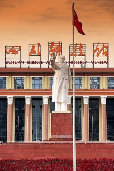China 10MKm2 Collection - Statue of Mao Zedong in front of the museum-Philippe Hugonnard-Photographic Print