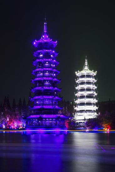 China 10MKm2 Collection - Sun & Moon Twin Pagodas-Philippe Hugonnard-Photographic Print