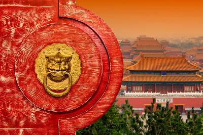 China 10MKm2 Collection - The Door God - Forbidden City Architecture-Philippe Hugonnard-Photographic Print