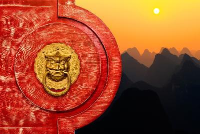 China 10MKm2 Collection - The Door God - Sunset Karts Peaks-Philippe Hugonnard-Photographic Print