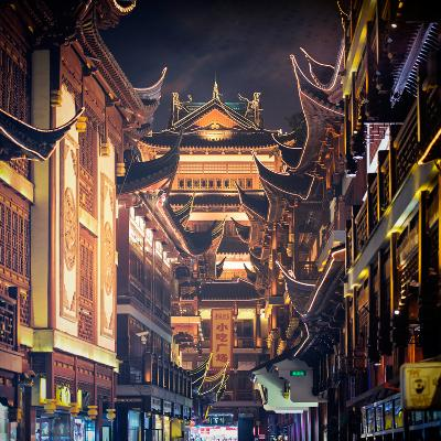 China 10MKm2 Collection - Traditional Architecture in Yuyuan Garden at night - Shanghai-Philippe Hugonnard-Photographic Print