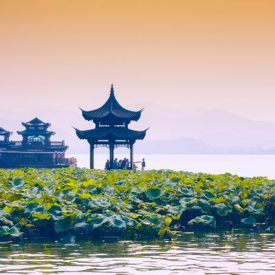 China 10MKm2 Collection - West Lake at sunset-Philippe Hugonnard-Photographic Print