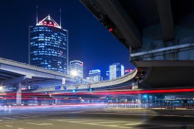 China, Beijing, Highway Overpass and Skyscrapers Along Third Ring Road-Paul Souders-Photographic Print