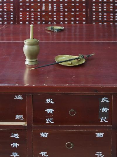 China, Beijing, Traditional Chinese Medicine Pharmacy, Scale and Mortar on the Counter-Keren Su-Photographic Print