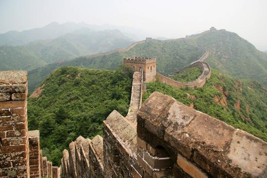 China, Great Wall, Hill Landscape and Watchtowers-Catharina Lux-Photographic Print