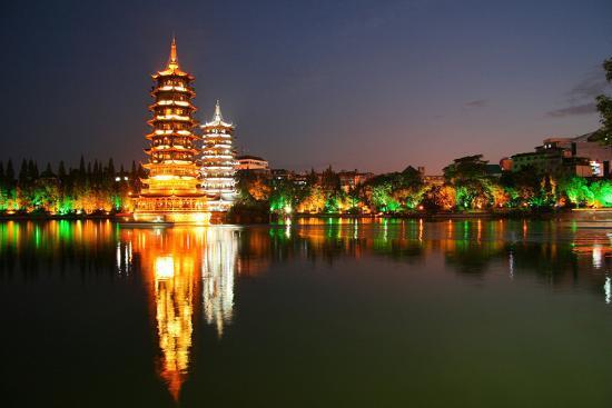 China, Guilin at Night, Double Pagoda 'Riyue Shuang Ta'-Catharina Lux-Photographic Print
