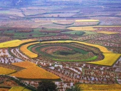 China, Guizhou Province, Round Shaped Rice Paddy after Harvest-Keren Su-Photographic Print