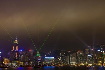 China, Hong Kong, Night Laser Show on Hong Kong Waterfront-Terry Eggers-Photographic Print