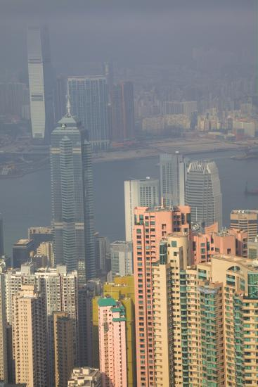 China, Hong Kong, View of Downtown Area from the Peak Viewing Area-Terry Eggers-Photographic Print
