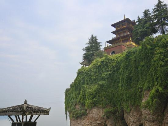 China, Hubei Province, Near Yichang, Ancient Tiger Tooth Battleground, Ancient Pagoda on the Cliff-Keren Su-Photographic Print