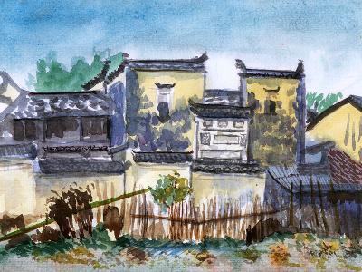 China Jiangxi Village Watercolor-jim80-Art Print
