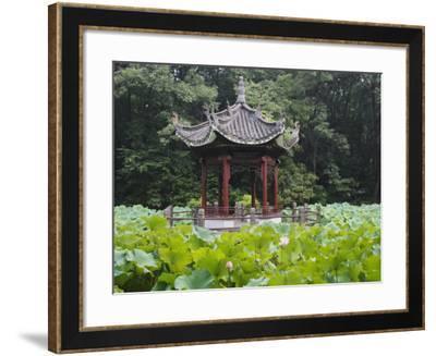 China, Pavilion and Lotus Pond-Keren Su-Framed Photographic Print