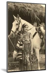 China Poblana in Native Garb with Horse, Mexico