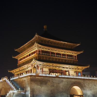China, Shaanxi Province, Xian, Night View of Ancient Drum Tower-Keren Su-Photographic Print