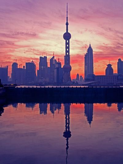 China, Shanghai, Oriental Pearl Tv Tower with Pudong Skyline at Sunrise-Keren Su-Photographic Print