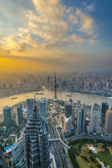 China, Shanghai, View over Pudong Financial District, Huangpu River Beyond-Alan Copson-Photographic Print