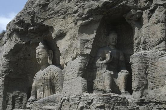 China, Shanxi Province, Buddha Statues at Yungang Grottoes--Giclee Print