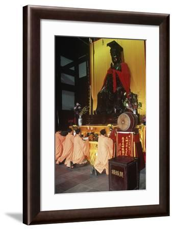 China, Sichuan, Dujiangyan, People Praying in Two Kings Temple at Dujiangyan Irrigation System--Framed Giclee Print