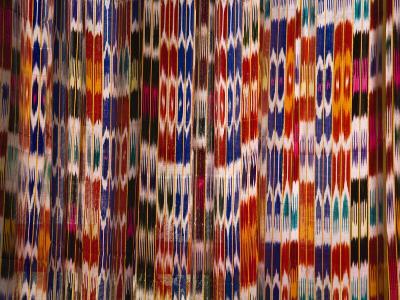 China, Silk Road, Xinjiang Province, Hotan, Carpet with Colorful Atalas Pattern-Keren Su-Photographic Print