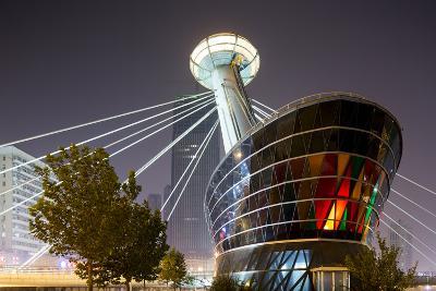 China, Tianjin, Glowing Restaurant Lights at Base of Ligonglou Bridge-Paul Souders-Photographic Print
