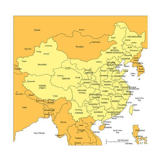 China With Administrative Districts And Surrounding Countries-Bruce Jones-Art Print