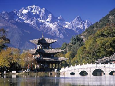 China, Yunnan Province, Lijiang, Black Dragon Pool Park and Jade Dragon Snow Mountain-Peter Adams-Photographic Print