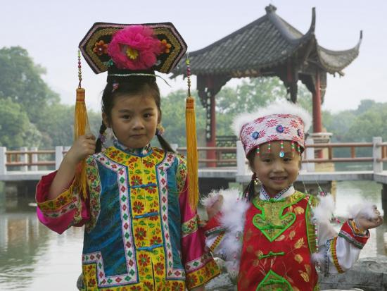 China, Zhejiang Province, Hangzhou, West Lake, Girls Dressed in Qing Dynasty Princess Costume-Keren Su-Photographic Print