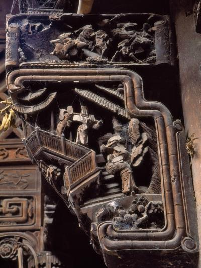 China, Zhejiang Province, Intricate Wood Carving on Traditional Architecture-Keren Su-Photographic Print