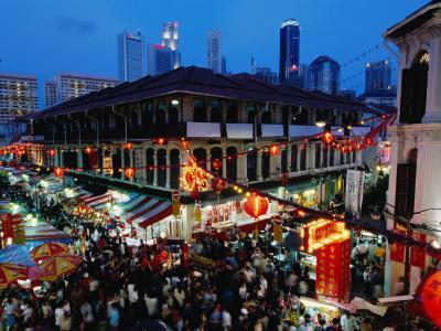 Chinatown District at Dusk, Singapore, Singapore-Michael Coyne-Photographic Print