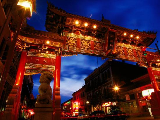 Chinatown Main Gate at Night, Victoria, Canada-Lawrence Worcester-Photographic Print