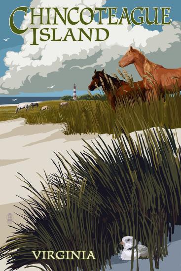 Chincoteague Island, Virginia - Horses and Dunes-Lantern Press-Art Print