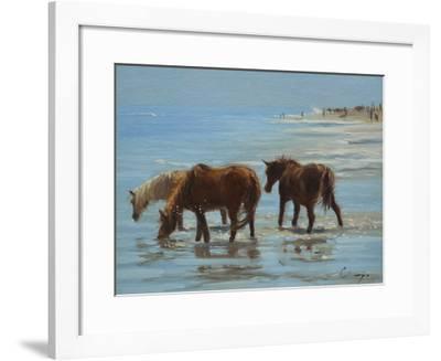 Chincoteague Ponies-Chuck Larivey-Framed Giclee Print
