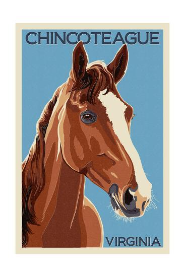 Chincoteague, Virginia - Horse-Lantern Press-Art Print