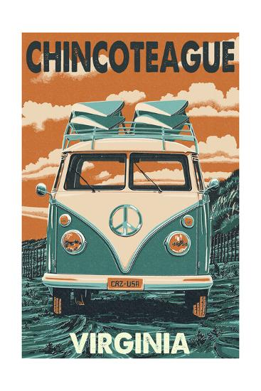 Chincoteague, Virginia - VW Van-Lantern Press-Art Print