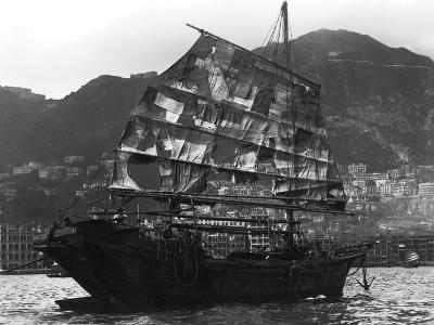Chinese Boat in a Harbour, 20th Century--Giclee Print