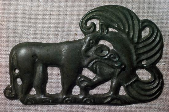 Chinese bronze harness plaque of a tiger and gryphon, 2nd century BC-Unknown-Giclee Print