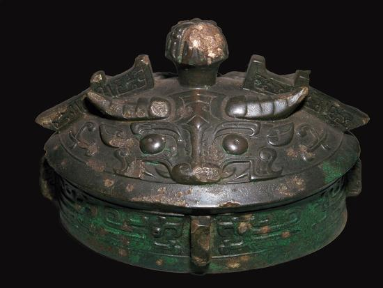Chinese bronze lid of a wine-vessel, 11th century BC.h Artist: Unknown-Unknown-Giclee Print