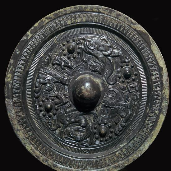 Chinese bronze mirror with figures of the Taoist gods, 2nd century-Unknown-Giclee Print
