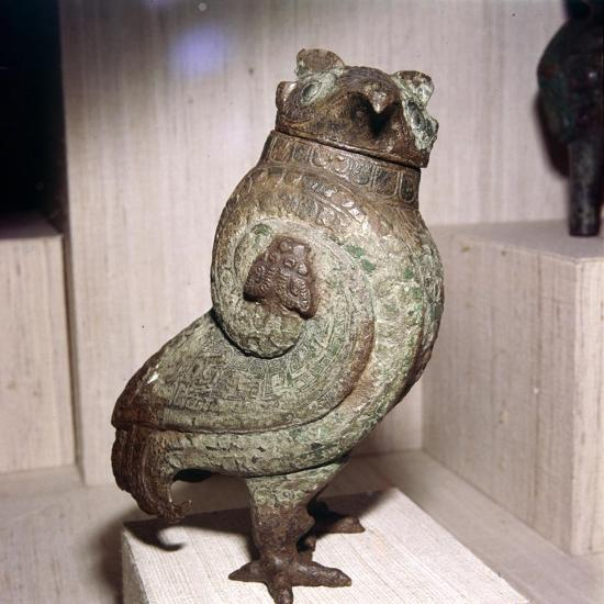 Chinese Bronze Wine-Vessel or Tsun, in form of Short-Eared Owl, 11th century BC-10th century BC-Unknown-Giclee Print