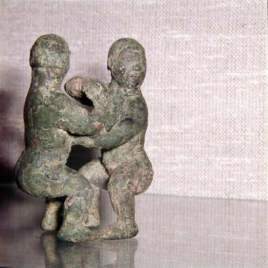 Chinese Bronze Wrestlers, Late Zhou Dynasty, 4th century BC-3rd century BC-Unknown-Giclee Print