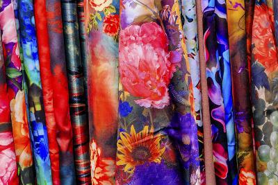 Chinese Colorful Flower Silk Scarves Decoration Yuyuan Garden Shanghai, China-William Perry-Photographic Print