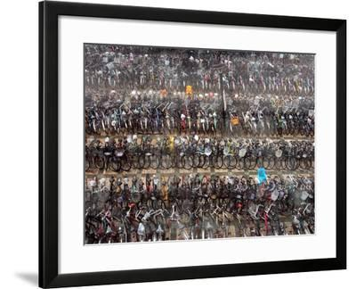 Chinese Conmuters' Bikes are Lined up--Framed Photographic Print