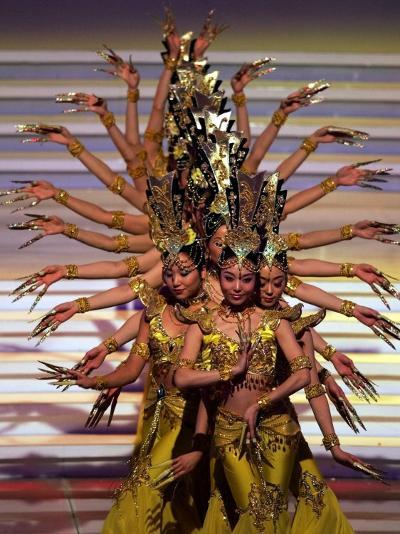 Chinese Dancers Perform During a Dress Rehearsal for the 54th Miss World Contest in Sanya--Photographic Print