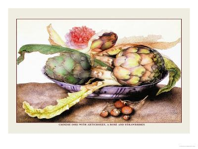 Chinese Dish with Artichokes, A Rose and Strawberries-Giovanna Garzoni-Art Print